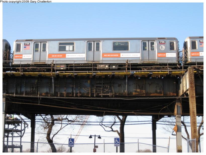 (141k, 820x620)<br><b>Country:</b> United States<br><b>City:</b> New York<br><b>System:</b> New York City Transit<br><b>Line:</b> IRT Flushing Line<br><b>Location:</b> Willets Point/Mets (fmr. Shea Stadium) <br><b>Route:</b> 7<br><b>Car:</b> R-62A (Bombardier, 1984-1987)  1796 <br><b>Photo by:</b> Gary Chatterton<br><b>Date:</b> 2/8/2009<br><b>Viewed (this week/total):</b> 0 / 1452