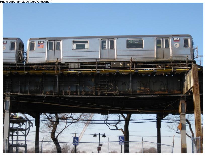 (133k, 820x620)<br><b>Country:</b> United States<br><b>City:</b> New York<br><b>System:</b> New York City Transit<br><b>Line:</b> IRT Flushing Line<br><b>Location:</b> Willets Point/Mets (fmr. Shea Stadium) <br><b>Route:</b> 7<br><b>Car:</b> R-62A (Bombardier, 1984-1987)  1994 <br><b>Photo by:</b> Gary Chatterton<br><b>Date:</b> 2/8/2009<br><b>Viewed (this week/total):</b> 0 / 1141