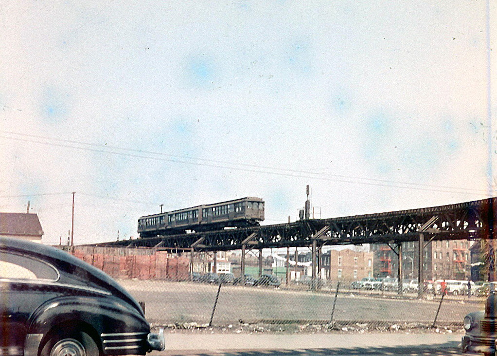 (213k, 820x554)<br><b>Country:</b> United States<br><b>City:</b> New York<br><b>System:</b> New York City Transit<br><b>Location:</b> Fresh Pond Yard<br><b>Car:</b> BMT Elevated Gate Car 727 <br><b>Photo by:</b> Joel Shanus<br><b>Viewed (this week/total):</b> 1 / 1325