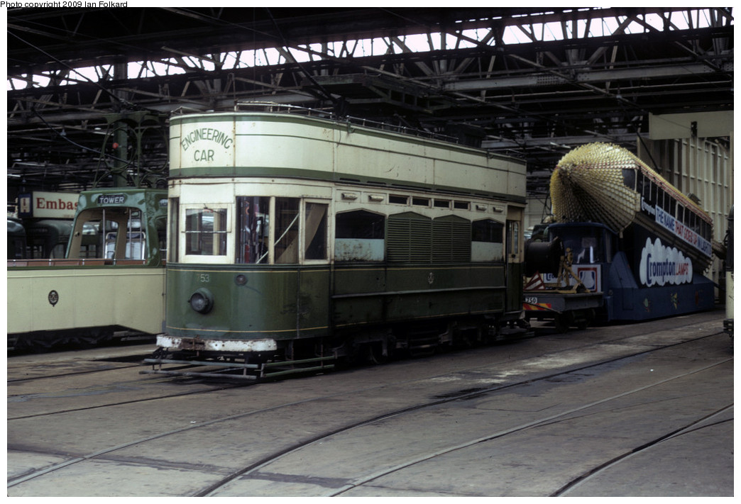 (229k, 1044x711)<br><b>Country:</b> United Kingdom<br><b>City:</b> Blackpool<br><b>System:</b> Blackpool Transport<br><b>Car:</b> Blackpool Tram 753 <br><b>Photo by:</b> Ian Folkard<br><b>Date:</b> 8/12/1973<br><b>Notes:</b> Rigby Road depot, tower car<br><b>Viewed (this week/total):</b> 0 / 774