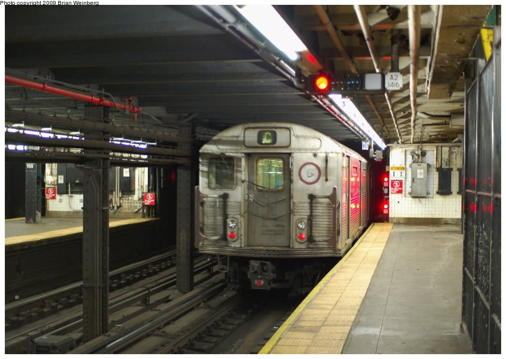 (235k, 1044x742)<br><b>Country:</b> United States<br><b>City:</b> New York<br><b>System:</b> New York City Transit<br><b>Line:</b> IND 8th Avenue Line<br><b>Location:</b> 168th Street <br><b>Route:</b> C<br><b>Car:</b> R-38 (St. Louis, 1966-1967)  4049 <br><b>Photo by:</b> Brian Weinberg<br><b>Date:</b> 2/19/2009<br><b>Viewed (this week/total):</b> 0 / 1714