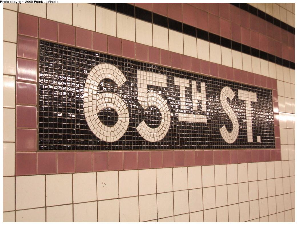 (232k, 1044x788)<br><b>Country:</b> United States<br><b>City:</b> New York<br><b>System:</b> New York City Transit<br><b>Line:</b> IND Queens Boulevard Line<br><b>Location:</b> 65th Street <br><b>Photo by:</b> Frank LeViness<br><b>Date:</b> 12/23/2008<br><b>Notes:</b> Name tablet at 65th St station.<br><b>Viewed (this week/total):</b> 3 / 1230