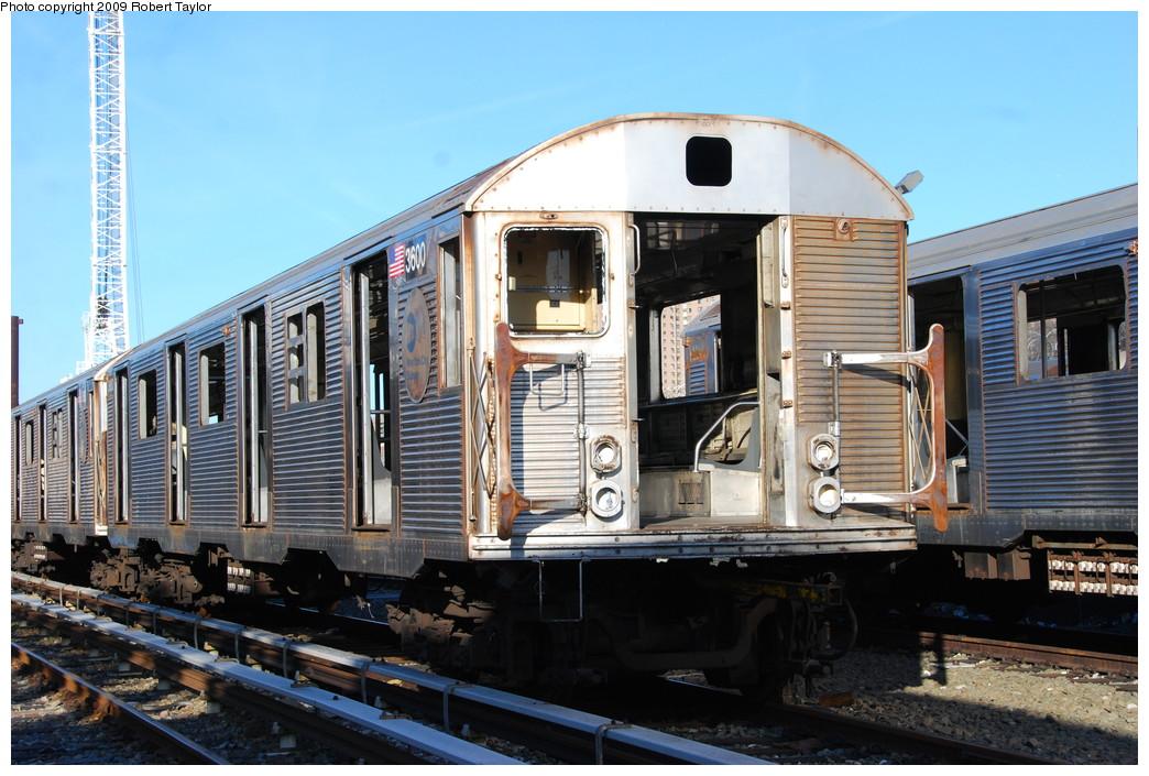 (280k, 1044x705)<br><b>Country:</b> United States<br><b>City:</b> New York<br><b>System:</b> New York City Transit<br><b>Location:</b> 207th Street Yard<br><b>Car:</b> R-32 (Budd, 1964)  3600 <br><b>Photo by:</b> Robert Taylor<br><b>Date:</b> 2/16/2009<br><b>Notes:</b> Scrap<br><b>Viewed (this week/total):</b> 1 / 1091