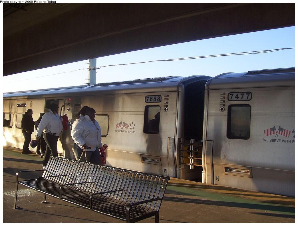 (214k, 1044x791)<br><b>Country:</b> United States<br><b>System:</b> Long Island Rail Road<br><b>Line:</b> LIRR Babylon<br><b>Location:</b> Copiague<br><b>Car:</b> LIRR M-7 EMU (Bombardier) 7688 <br><b>Photo by:</b> Roberto C. Tobar<br><b>Date:</b> 2/14/2009<br><b>Notes:</b> Platform view.<br><b>Viewed (this week/total):</b> 0 / 933