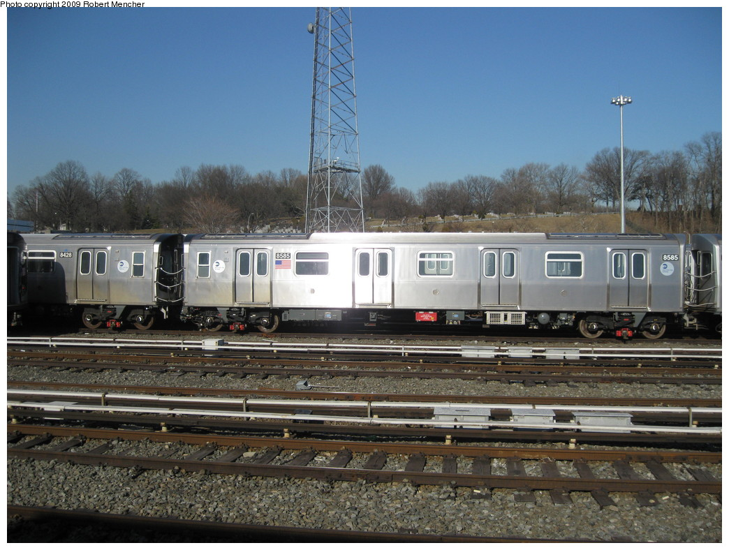 (240k, 1044x788)<br><b>Country:</b> United States<br><b>City:</b> New York<br><b>System:</b> New York City Transit<br><b>Location:</b> East New York Yard/Shops<br><b>Car:</b> R-160A-1 (Alstom, 2005-2008, 4 car sets)  8585 <br><b>Photo by:</b> Robert Mencher<br><b>Date:</b> 2/25/2009<br><b>Viewed (this week/total):</b> 0 / 863