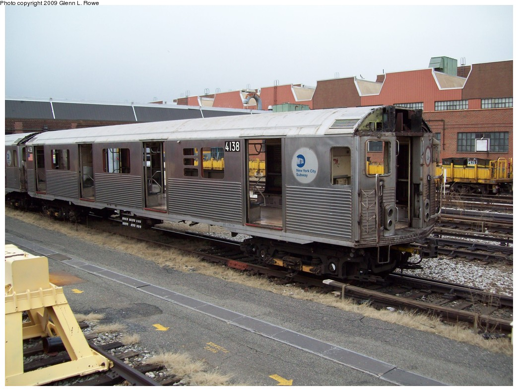 (236k, 1044x788)<br><b>Country:</b> United States<br><b>City:</b> New York<br><b>System:</b> New York City Transit<br><b>Location:</b> 207th Street Yard<br><b>Car:</b> R-38 (St. Louis, 1966-1967)  4138 <br><b>Photo by:</b> Glenn L. Rowe<br><b>Date:</b> 2/26/2009<br><b>Notes:</b> Scrap<br><b>Viewed (this week/total):</b> 0 / 844