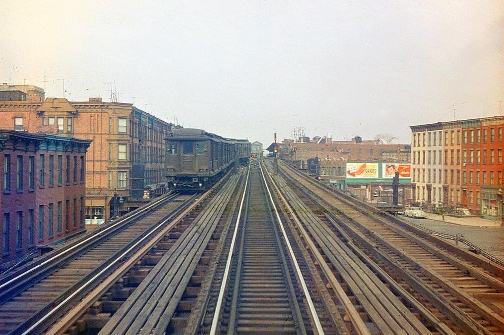 (271k, 812x586)<br><b>Country:</b> United States<br><b>City:</b> New York<br><b>System:</b> New York City Transit<br><b>Line:</b> IND Fulton Street Line<br><b>Location:</b> Lefferts Boulevard <br><b>Route:</b> A<br><b>Car:</b> R-10 (American Car & Foundry, 1948)  <br><b>Photo by:</b> Joel Shanus<br><b>Viewed (this week/total):</b> 6 / 2471