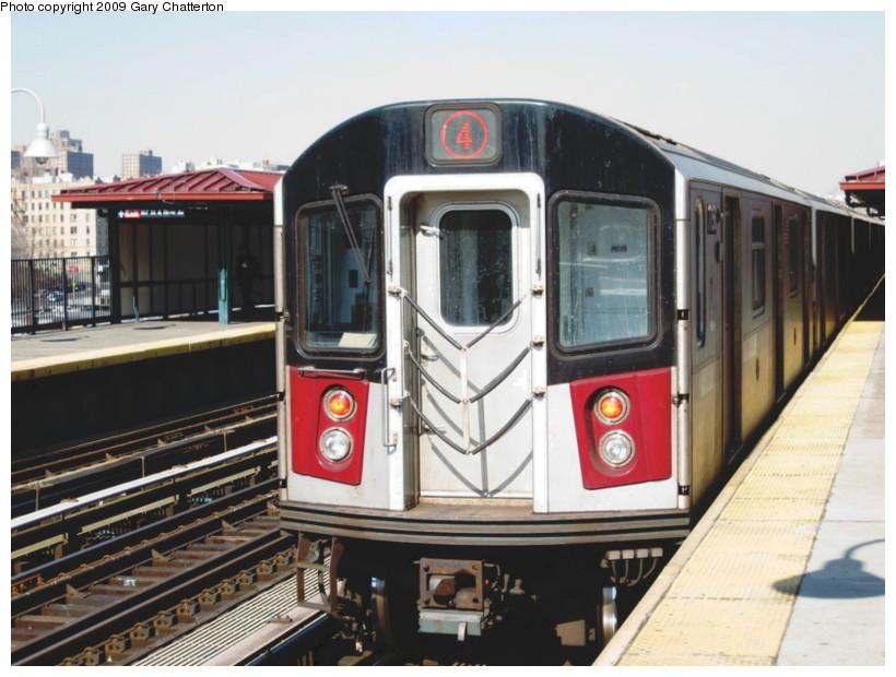 (132k, 820x620)<br><b>Country:</b> United States<br><b>City:</b> New York<br><b>System:</b> New York City Transit<br><b>Line:</b> IRT Woodlawn Line<br><b>Location:</b> 167th Street <br><b>Route:</b> 4<br><b>Car:</b> R-142A (Supplemental Order, Kawasaki, 2003-2004)  7756 <br><b>Photo by:</b> Gary Chatterton<br><b>Date:</b> 2/25/2009<br><b>Viewed (this week/total):</b> 1 / 1642
