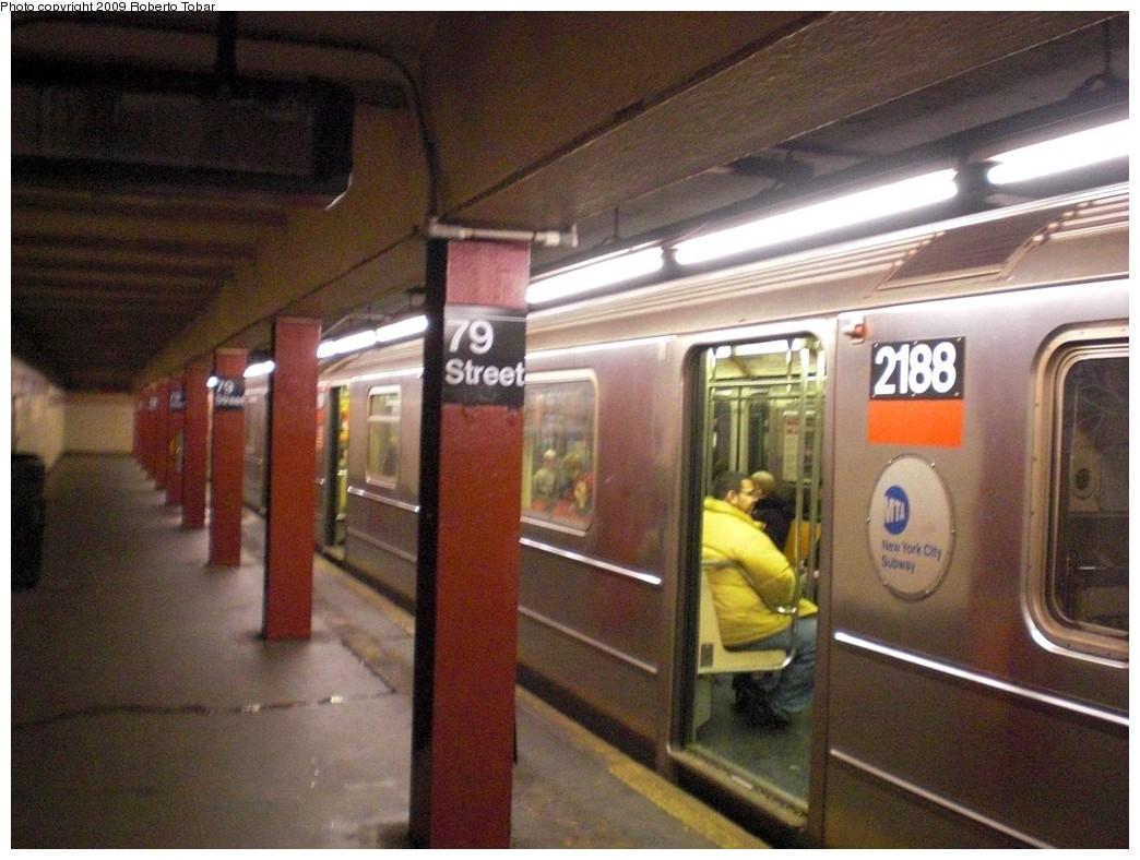 (241k, 1044x788)<br><b>Country:</b> United States<br><b>City:</b> New York<br><b>System:</b> New York City Transit<br><b>Line:</b> IRT West Side Line<br><b>Location:</b> 79th Street <br><b>Route:</b> 1<br><b>Car:</b> R-62A (Bombardier, 1984-1987)  2188 <br><b>Photo by:</b> Roberto C. Tobar<br><b>Date:</b> 2/27/2009<br><b>Viewed (this week/total):</b> 0 / 2141