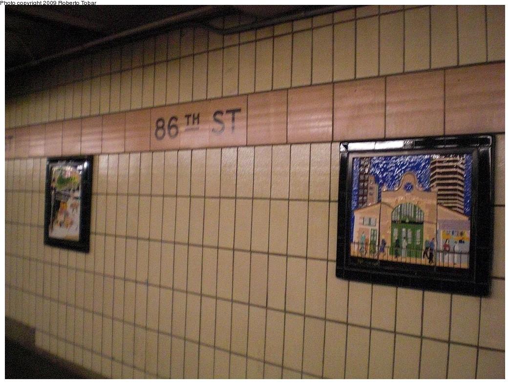 (291k, 1044x788)<br><b>Country:</b> United States<br><b>City:</b> New York<br><b>System:</b> New York City Transit<br><b>Line:</b> IRT West Side Line<br><b>Location:</b> 86th Street <br><b>Photo by:</b> Roberto C. Tobar<br><b>Date:</b> 2/27/2009<br><b>Artwork:</b> <i>Westside Views</i>, Nitza Tufino (1989).<br><b>Viewed (this week/total):</b> 3 / 1183