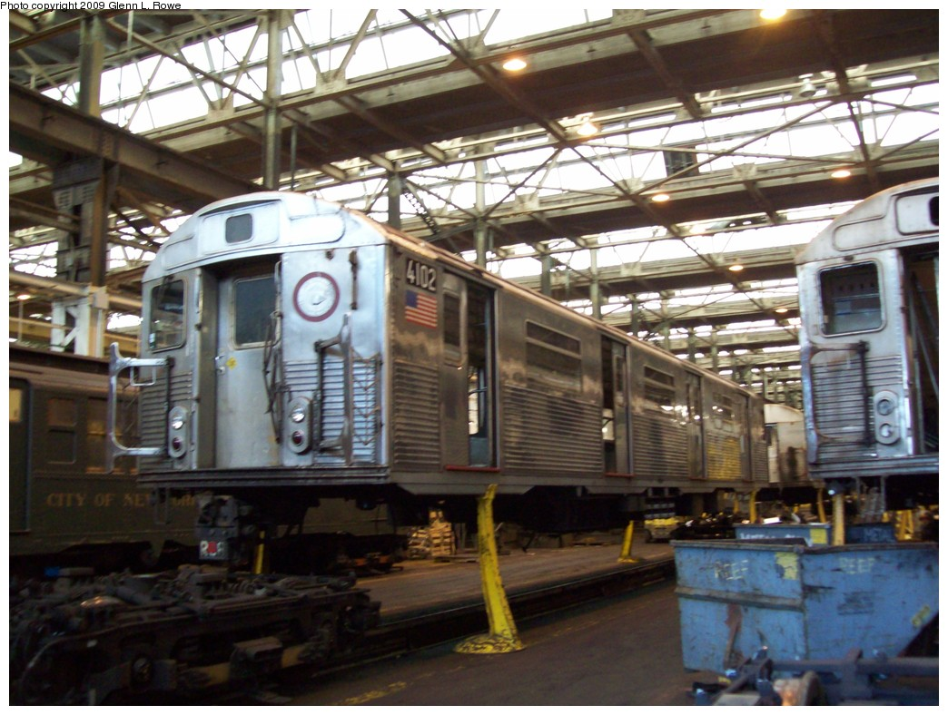 (229k, 1044x788)<br><b>Country:</b> United States<br><b>City:</b> New York<br><b>System:</b> New York City Transit<br><b>Location:</b> 207th Street Shop<br><b>Car:</b> R-38 (St. Louis, 1966-1967)  4102 <br><b>Photo by:</b> Glenn L. Rowe<br><b>Date:</b> 2/27/2009<br><b>Notes:</b> Scrap<br><b>Viewed (this week/total):</b> 2 / 1120