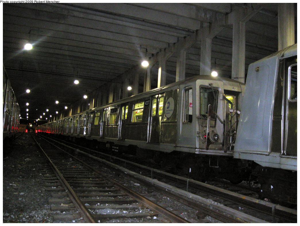(346k, 1044x788)<br><b>Country:</b> United States<br><b>City:</b> New York<br><b>System:</b> New York City Transit<br><b>Location:</b> Pitkin Yard/Shops<br><b>Car:</b> R-40 (St. Louis, 1968)  4227 <br><b>Photo by:</b> Robert Mencher<br><b>Date:</b> 2/28/2009<br><b>Viewed (this week/total):</b> 0 / 1438