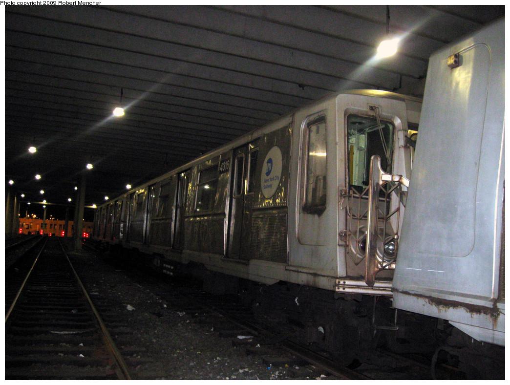 (307k, 1044x788)<br><b>Country:</b> United States<br><b>City:</b> New York<br><b>System:</b> New York City Transit<br><b>Location:</b> Pitkin Yard/Shops<br><b>Car:</b> R-40 (St. Louis, 1968)  4316 <br><b>Photo by:</b> Robert Mencher<br><b>Date:</b> 2/28/2009<br><b>Viewed (this week/total):</b> 1 / 1144