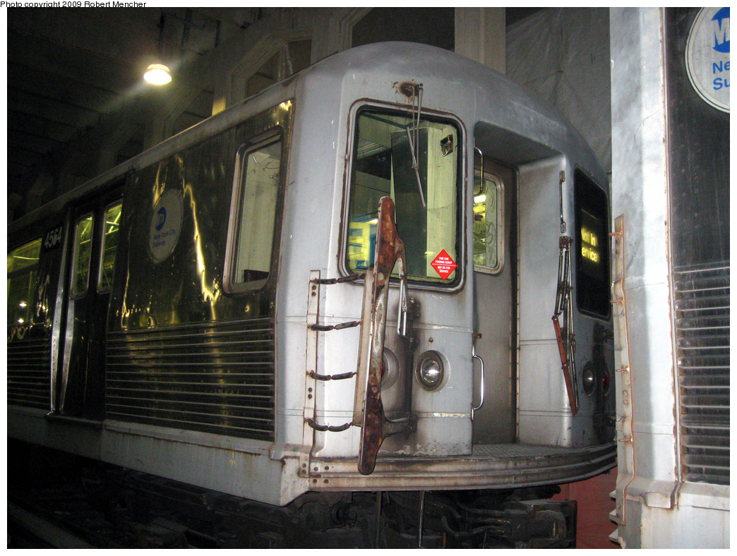 (315k, 1044x788)<br><b>Country:</b> United States<br><b>City:</b> New York<br><b>System:</b> New York City Transit<br><b>Location:</b> Pitkin Yard/Shops<br><b>Car:</b> R-42 (St. Louis, 1969-1970)  4564 <br><b>Photo by:</b> Robert Mencher<br><b>Date:</b> 2/28/2009<br><b>Notes:</b> Red sticker says: This Car Pending Scrap- NOT OK For Service<br><b>Viewed (this week/total):</b> 0 / 2259
