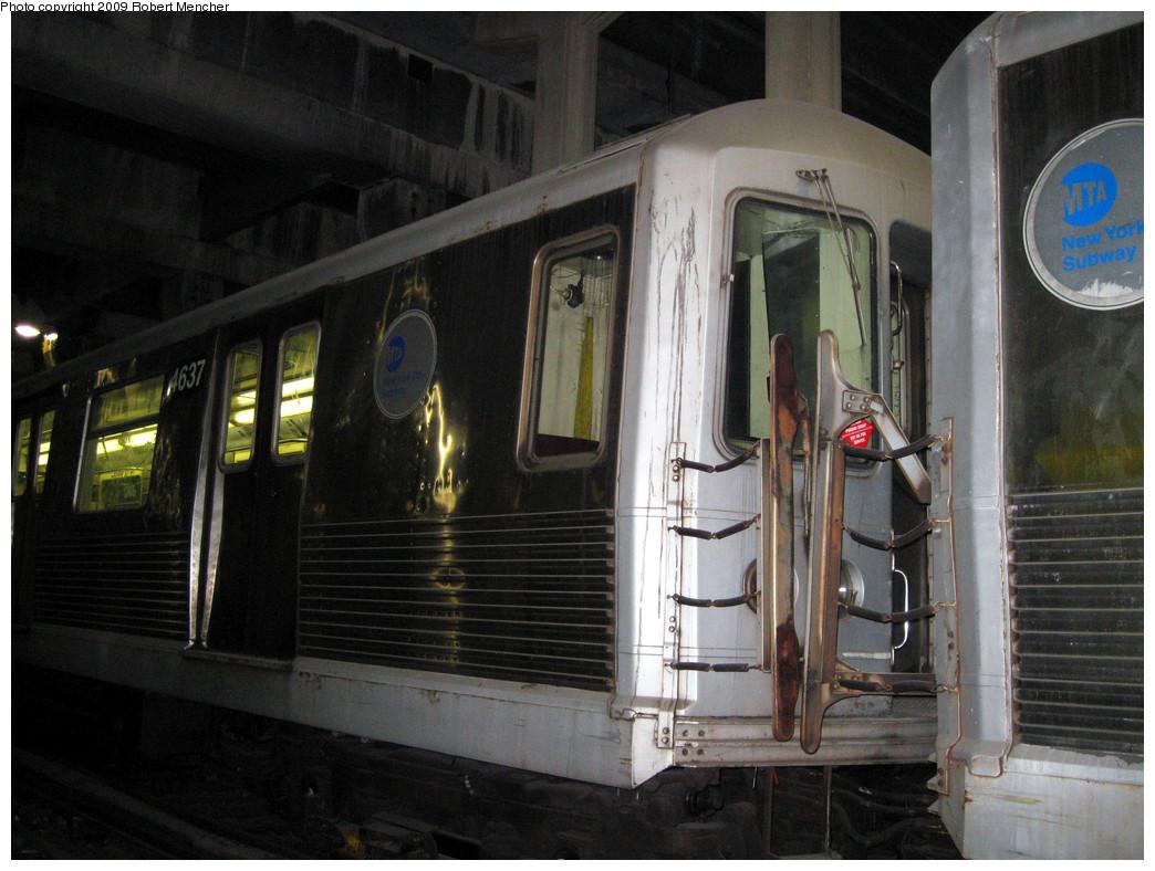 (281k, 1044x788)<br><b>Country:</b> United States<br><b>City:</b> New York<br><b>System:</b> New York City Transit<br><b>Location:</b> Pitkin Yard/Shops<br><b>Car:</b> R-42 (St. Louis, 1969-1970)  4637 <br><b>Photo by:</b> Robert Mencher<br><b>Date:</b> 2/28/2009<br><b>Notes:</b> Red sticker says: This Car Pending Scrap- NOT OK For Service<br><b>Viewed (this week/total):</b> 0 / 1196