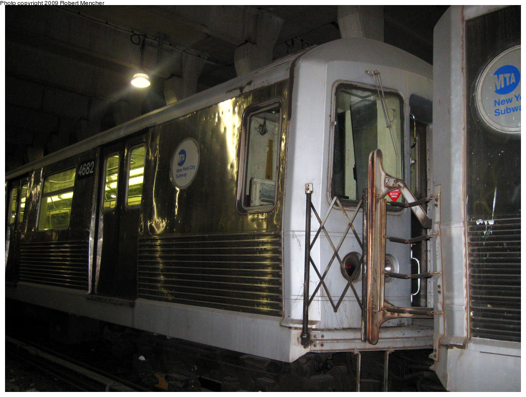 (284k, 1044x788)<br><b>Country:</b> United States<br><b>City:</b> New York<br><b>System:</b> New York City Transit<br><b>Location:</b> Pitkin Yard/Shops<br><b>Car:</b> R-42 (St. Louis, 1969-1970)  4682 <br><b>Photo by:</b> Robert Mencher<br><b>Date:</b> 2/28/2009<br><b>Notes:</b> Red sticker says: This Car Pending Scrap- NOT OK For Service<br><b>Viewed (this week/total):</b> 0 / 1037