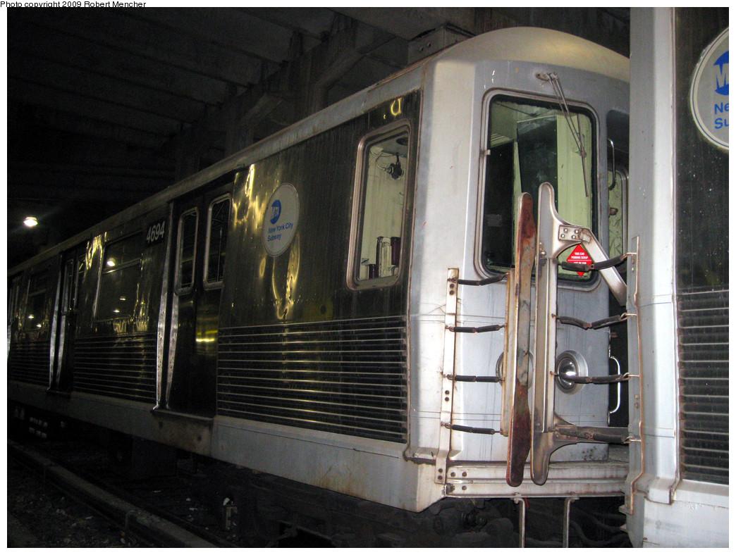 (297k, 1044x788)<br><b>Country:</b> United States<br><b>City:</b> New York<br><b>System:</b> New York City Transit<br><b>Location:</b> Pitkin Yard/Shops<br><b>Car:</b> R-42 (St. Louis, 1969-1970)  4694 <br><b>Photo by:</b> Robert Mencher<br><b>Date:</b> 2/28/2009<br><b>Notes:</b> Red sticker says: This Car Pending Scrap- NOT OK For Service<br><b>Viewed (this week/total):</b> 1 / 1132