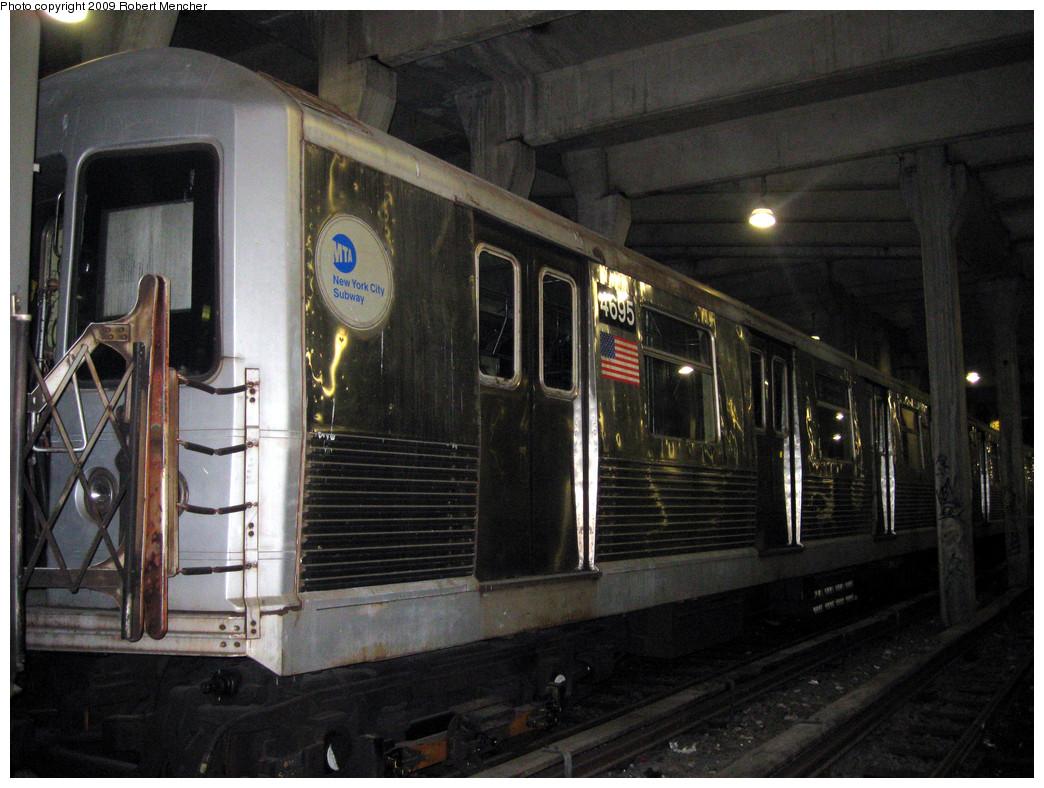 (304k, 1044x788)<br><b>Country:</b> United States<br><b>City:</b> New York<br><b>System:</b> New York City Transit<br><b>Location:</b> Pitkin Yard/Shops<br><b>Car:</b> R-42 (St. Louis, 1969-1970)  4695 <br><b>Photo by:</b> Robert Mencher<br><b>Date:</b> 2/28/2009<br><b>Viewed (this week/total):</b> 1 / 1034