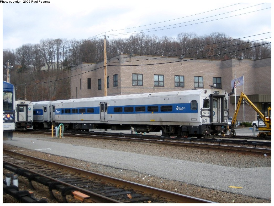 (246k, 1044x788)<br><b>Country:</b> United States<br><b>System:</b> Metro-North Railroad (or Amtrak or Predecessor RR)<br><b>Line:</b> Metro North-Harlem Line<br><b>Location:</b> North White Plains Yard <br><b>Car:</b> MNRR/CDOT Shoreliner (Bombardier) 6318 <br><b>Photo by:</b> Paul Pesante<br><b>Date:</b> 11/26/2008<br><b>Notes:</b> Shoreliner II Cab #6318 at North White Plains Yard. The photographer is a railroad employee with permission and wants to remind everyone - do not trespass on RR property!<br><b>Viewed (this week/total):</b> 4 / 1056