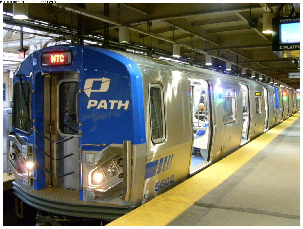 (261k, 1044x788)<br><b>Country:</b> United States<br><b>City:</b> Newark, NJ<br><b>System:</b> PATH<br><b>Location:</b> Newark (Penn Station) <br><b>Car:</b> PATH PA-5 (Kawasaki, 2009-2011) 5602 <br><b>Photo by:</b> Leonard Wilson<br><b>Date:</b> 2/28/2009<br><b>Viewed (this week/total):</b> 1 / 3811