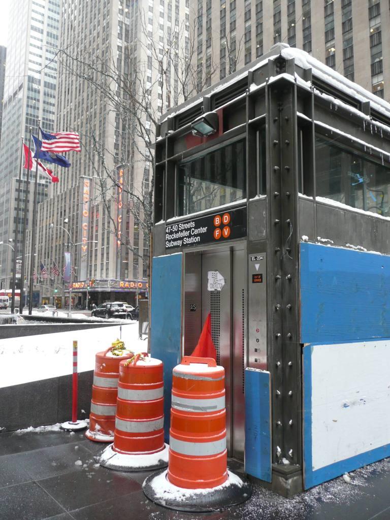 (149k, 768x1024)<br><b>Country:</b> United States<br><b>City:</b> New York<br><b>System:</b> New York City Transit<br><b>Line:</b> IND 6th Avenue Line<br><b>Location:</b> 47-50th Street/Rockefeller Center <br><b>Photo by:</b> Robbie Rosenfeld<br><b>Date:</b> 3/2/2009<br><b>Notes:</b> New elevator entrance to 47/50th.<br><b>Viewed (this week/total):</b> 1 / 1815