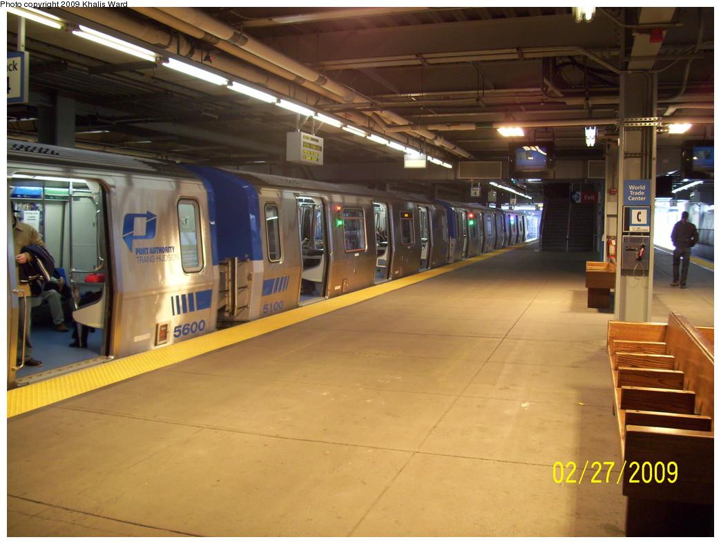 (235k, 1044x788)<br><b>Country:</b> United States<br><b>City:</b> New York<br><b>System:</b> PATH<br><b>Location:</b> World Trade Center <br><b>Car:</b> PATH PA-5 (Kawasaki, 2009-2011) 5600/5100 <br><b>Photo by:</b> Khalis Ward<br><b>Date:</b> 2/27/2009<br><b>Viewed (this week/total):</b> 0 / 1601