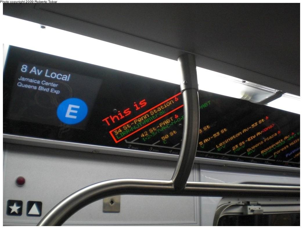 (198k, 1044x788)<br><b>Country:</b> United States<br><b>City:</b> New York<br><b>System:</b> New York City Transit<br><b>Route:</b> E<br><b>Car:</b> R-160A (Option 1) (Alstom, 2008-2009, 5 car sets)  Interior <br><b>Photo by:</b> Roberto C. Tobar<br><b>Date:</b> 3/4/2009<br><b>Notes:</b> FIND display in R160 E train.<br><b>Viewed (this week/total):</b> 2 / 1557