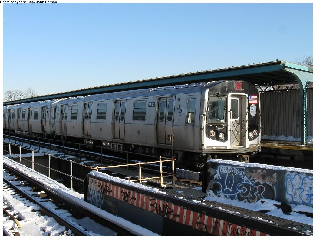 (223k, 1044x788)<br><b>Country:</b> United States<br><b>City:</b> New York<br><b>System:</b> New York City Transit<br><b>Line:</b> BMT Nassau Street/Jamaica Line<br><b>Location:</b> 102nd-104th Streets <br><b>Route:</b> J<br><b>Car:</b> R-160A-1 (Alstom, 2005-2008, 4 car sets)  8544 <br><b>Photo by:</b> John Barnes<br><b>Date:</b> 3/3/2009<br><b>Viewed (this week/total):</b> 2 / 1490