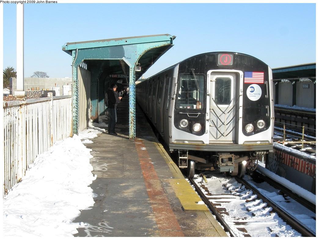 (240k, 1044x788)<br><b>Country:</b> United States<br><b>City:</b> New York<br><b>System:</b> New York City Transit<br><b>Line:</b> BMT Nassau Street/Jamaica Line<br><b>Location:</b> 102nd-104th Streets <br><b>Route:</b> J<br><b>Car:</b> R-160A-1 (Alstom, 2005-2008, 4 car sets)  8412 <br><b>Photo by:</b> John Barnes<br><b>Date:</b> 3/3/2009<br><b>Viewed (this week/total):</b> 4 / 1782