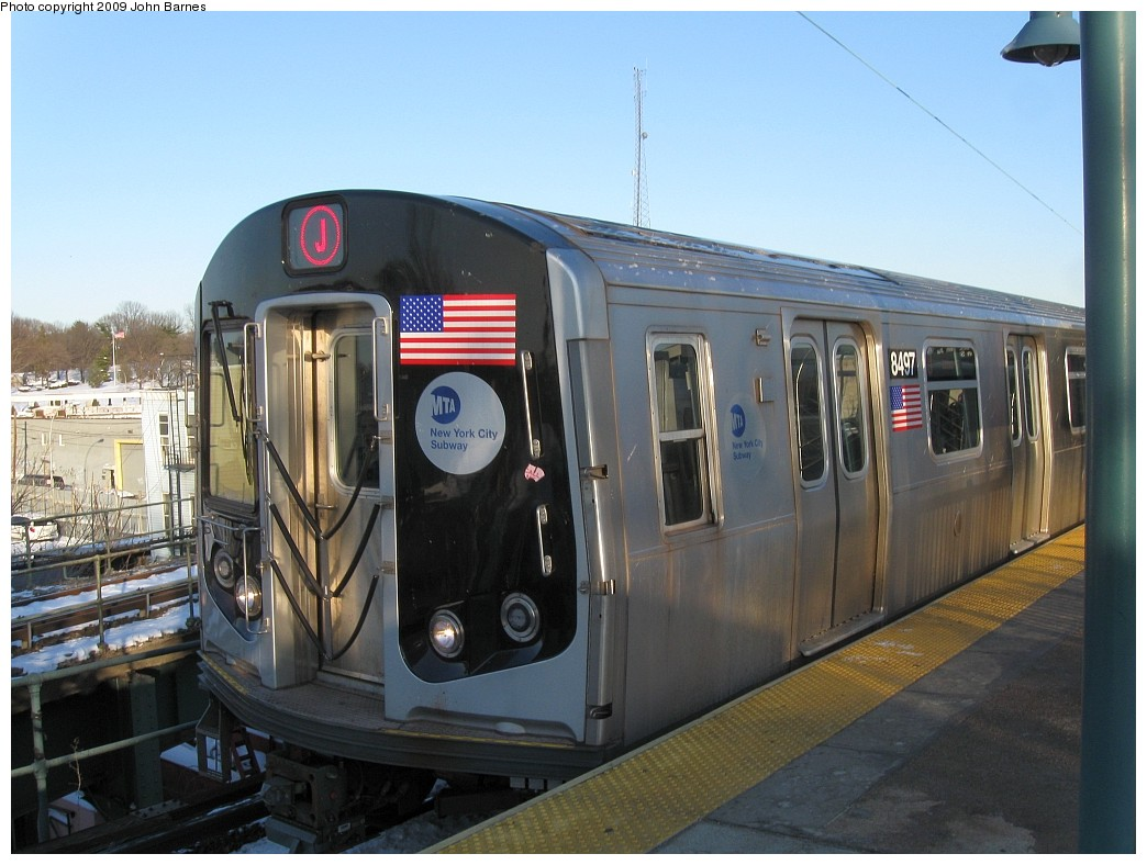 (196k, 1044x788)<br><b>Country:</b> United States<br><b>City:</b> New York<br><b>System:</b> New York City Transit<br><b>Line:</b> BMT Nassau Street/Jamaica Line<br><b>Location:</b> Broadway/East New York (Broadway Junction) <br><b>Route:</b> J<br><b>Car:</b> R-160A-1 (Alstom, 2005-2008, 4 car sets)  8497 <br><b>Photo by:</b> John Barnes<br><b>Date:</b> 3/3/2009<br><b>Viewed (this week/total):</b> 0 / 1034