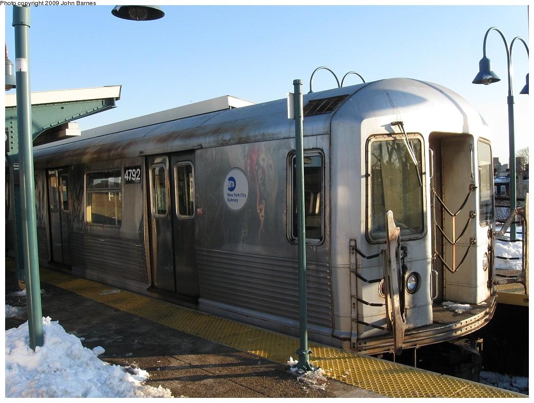 (224k, 1044x788)<br><b>Country:</b> United States<br><b>City:</b> New York<br><b>System:</b> New York City Transit<br><b>Line:</b> BMT Nassau Street/Jamaica Line<br><b>Location:</b> Broadway/East New York (Broadway Junction) <br><b>Route:</b> Z<br><b>Car:</b> R-42 (St. Louis, 1969-1970)  4792 <br><b>Photo by:</b> John Barnes<br><b>Date:</b> 3/3/2009<br><b>Viewed (this week/total):</b> 0 / 1239