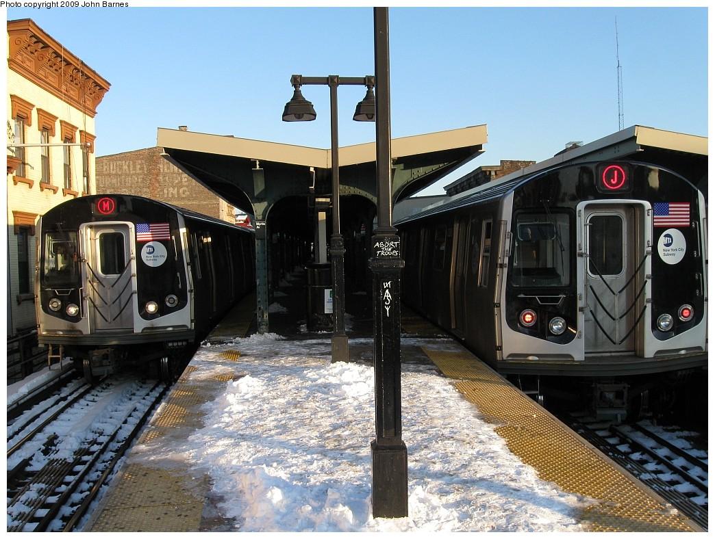 (262k, 1044x788)<br><b>Country:</b> United States<br><b>City:</b> New York<br><b>System:</b> New York City Transit<br><b>Line:</b> BMT Nassau Street/Jamaica Line<br><b>Location:</b> Myrtle Avenue <br><b>Route:</b> M<br><b>Car:</b> R-160A-1 (Alstom, 2005-2008, 4 car sets)  8625 <br><b>Photo by:</b> John Barnes<br><b>Date:</b> 3/3/2009<br><b>Notes:</b> 8625 M on the left, R-160 8388 J on the right.<br><b>Viewed (this week/total):</b> 0 / 1764