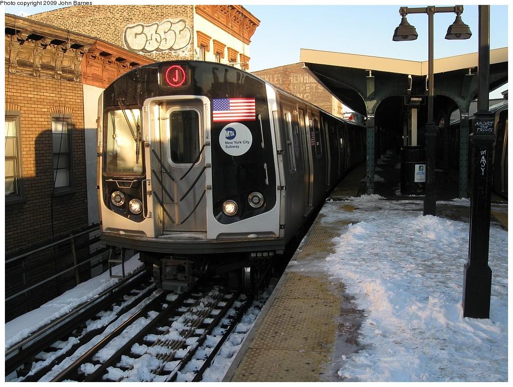 (282k, 1044x788)<br><b>Country:</b> United States<br><b>City:</b> New York<br><b>System:</b> New York City Transit<br><b>Line:</b> BMT Nassau Street/Jamaica Line<br><b>Location:</b> Myrtle Avenue <br><b>Route:</b> J<br><b>Car:</b> R-160A-1 (Alstom, 2005-2008, 4 car sets)  8544 <br><b>Photo by:</b> John Barnes<br><b>Date:</b> 3/3/2009<br><b>Viewed (this week/total):</b> 0 / 1292