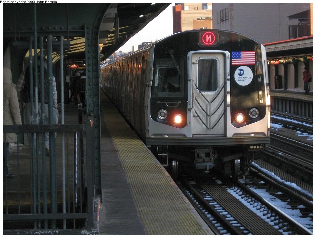 (232k, 1044x788)<br><b>Country:</b> United States<br><b>City:</b> New York<br><b>System:</b> New York City Transit<br><b>Line:</b> BMT Nassau Street/Jamaica Line<br><b>Location:</b> Lorimer Street <br><b>Route:</b> M<br><b>Car:</b> R-160A-1 (Alstom, 2005-2008, 4 car sets)   <br><b>Photo by:</b> John Barnes<br><b>Date:</b> 3/3/2009<br><b>Viewed (this week/total):</b> 1 / 1367