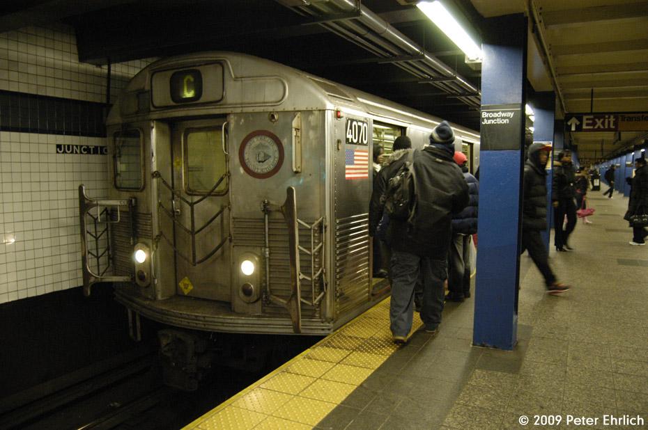 (207k, 930x618)<br><b>Country:</b> United States<br><b>City:</b> New York<br><b>System:</b> New York City Transit<br><b>Line:</b> IND Fulton Street Line<br><b>Location:</b> Broadway/East New York (Broadway Junction) <br><b>Route:</b> C<br><b>Car:</b> R-38 (St. Louis, 1966-1967)  4070 <br><b>Photo by:</b> Peter Ehrlich<br><b>Date:</b> 2/19/2009<br><b>Notes:</b> Inbound<br><b>Viewed (this week/total):</b> 2 / 1462