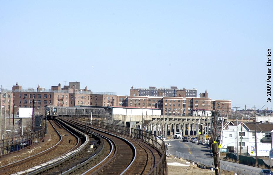 (190k, 930x599)<br><b>Country:</b> United States<br><b>City:</b> New York<br><b>System:</b> New York City Transit<br><b>Line:</b> IND Rockaway<br><b>Location:</b> Beach 60th Street/Straiton <br><b>Route:</b> A<br><b>Car:</b> R-40 (St. Louis, 1968)  4373 <br><b>Photo by:</b> Peter Ehrlich<br><b>Date:</b> 2/24/2009<br><b>Notes:</b> View from Beach 67 Street/Gaston Avenue Station.<br><b>Viewed (this week/total):</b> 1 / 1838