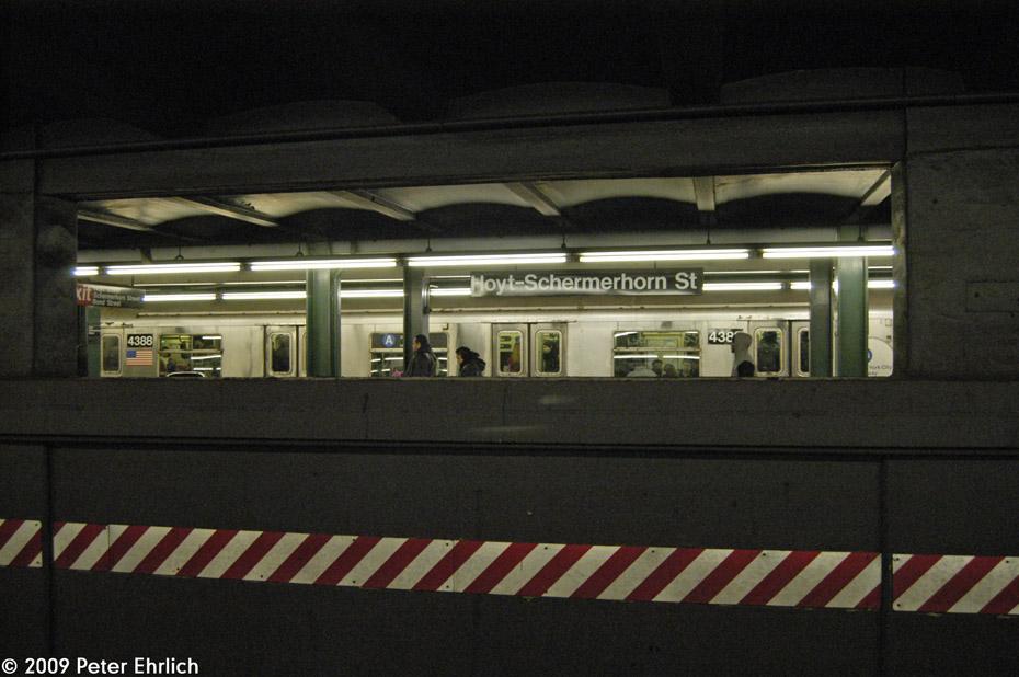 (185k, 930x618)<br><b>Country:</b> United States<br><b>City:</b> New York<br><b>System:</b> New York City Transit<br><b>Line:</b> IND Fulton Street Line<br><b>Location:</b> Hoyt-Schermerhorn Street <br><b>Route:</b> A<br><b>Car:</b> R-40 (St. Louis, 1968)  4388 <br><b>Photo by:</b> Peter Ehrlich<br><b>Date:</b> 2/24/2009<br><b>Notes:</b> Outbound<br><b>Viewed (this week/total):</b> 0 / 2042