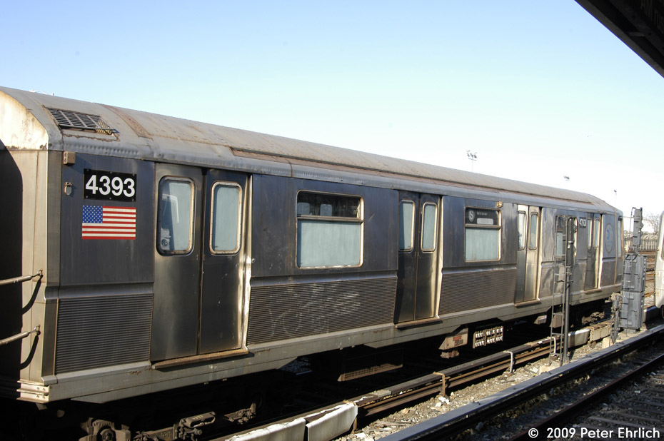 (181k, 930x618)<br><b>Country:</b> United States<br><b>City:</b> New York<br><b>System:</b> New York City Transit<br><b>Location:</b> Rockaway Park Yard<br><b>Car:</b> R-40 (St. Louis, 1968)  4393 <br><b>Photo by:</b> Peter Ehrlich<br><b>Date:</b> 2/24/2009<br><b>Notes:</b> 4392/4393 are out of passenger service, but are still used for non-revenue trains.<br><b>Viewed (this week/total):</b> 1 / 1287