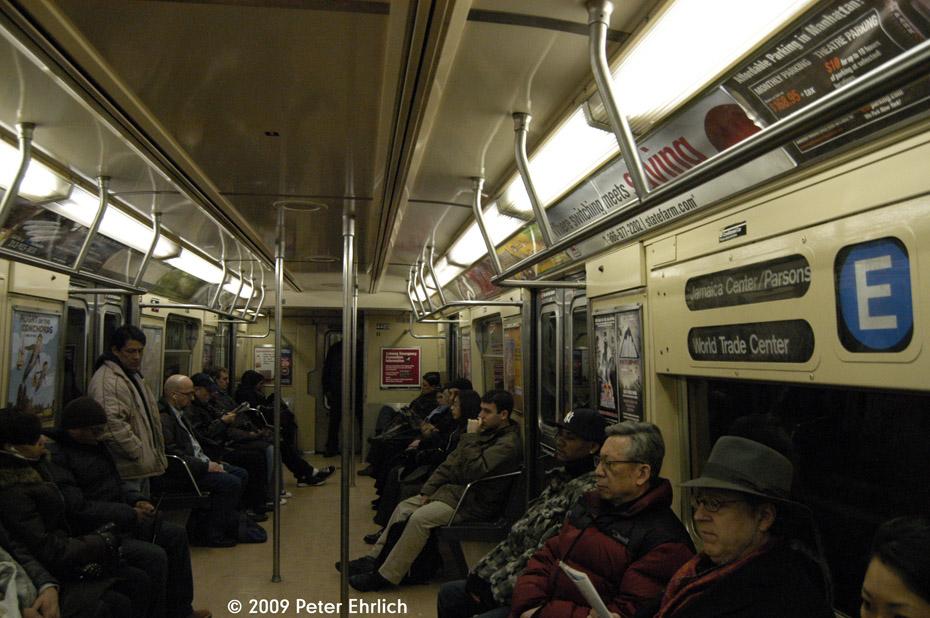 (214k, 930x618)<br><b>Country:</b> United States<br><b>City:</b> New York<br><b>System:</b> New York City Transit<br><b>Route:</b> E<br><b>Car:</b> R-40M (St. Louis, 1969)  4483 <br><b>Photo by:</b> Peter Ehrlich<br><b>Date:</b> 2/24/2009<br><b>Notes:</b> R40M interior.<br><b>Viewed (this week/total):</b> 1 / 1588
