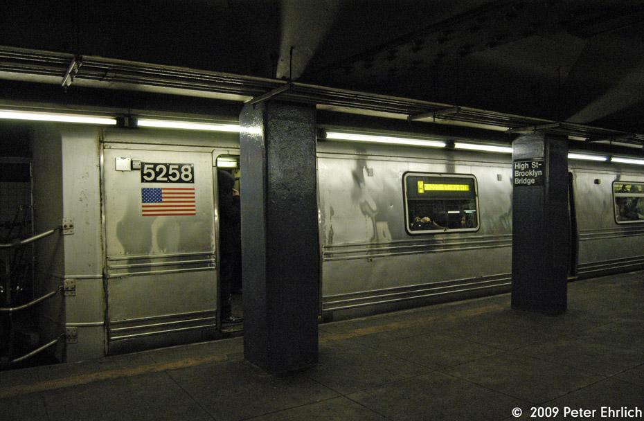 (198k, 930x608)<br><b>Country:</b> United States<br><b>City:</b> New York<br><b>System:</b> New York City Transit<br><b>Line:</b> IND 8th Avenue Line<br><b>Location:</b> High Street/Brooklyn Bridge <br><b>Route:</b> A<br><b>Car:</b> R-44 (St. Louis, 1971-73) 5258 <br><b>Photo by:</b> Peter Ehrlich<br><b>Date:</b> 2/24/2009<br><b>Notes:</b> Outbound<br><b>Viewed (this week/total):</b> 2 / 2021