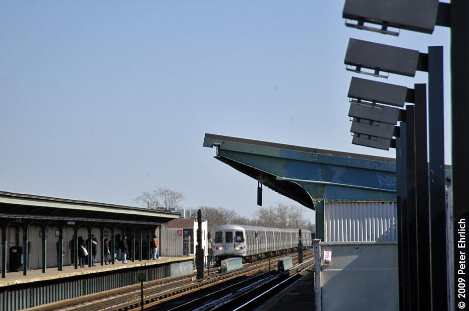 (157k, 930x618)<br><b>Country:</b> United States<br><b>City:</b> New York<br><b>System:</b> New York City Transit<br><b>Line:</b> IND Fulton Street Line<br><b>Location:</b> 111th Street/Greenwood Avenue <br><b>Route:</b> A<br><b>Car:</b> R-44 (St. Louis, 1971-73) 5300 <br><b>Photo by:</b> Peter Ehrlich<br><b>Date:</b> 2/24/2009<br><b>Notes:</b> Inbound<br><b>Viewed (this week/total):</b> 2 / 1145
