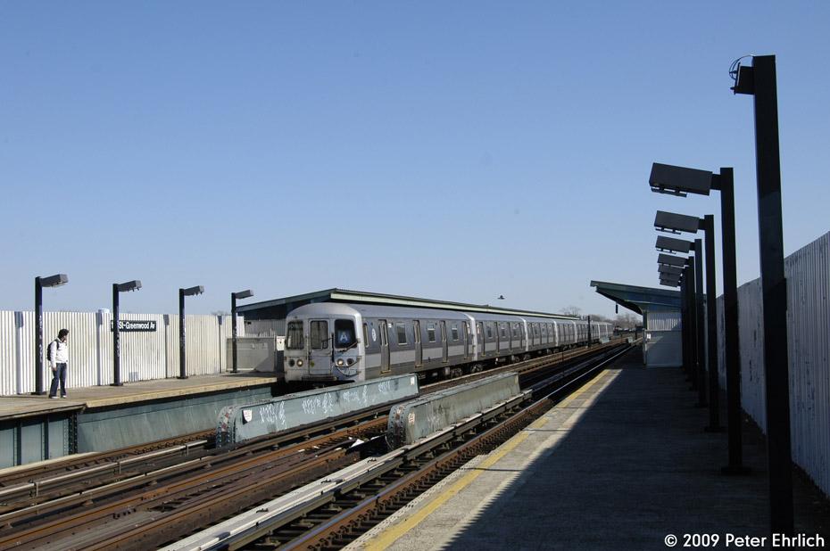 (158k, 930x618)<br><b>Country:</b> United States<br><b>City:</b> New York<br><b>System:</b> New York City Transit<br><b>Line:</b> IND Fulton Street Line<br><b>Location:</b> 111th Street/Greenwood Avenue <br><b>Route:</b> A<br><b>Car:</b> R-44 (St. Louis, 1971-73) 5300 <br><b>Photo by:</b> Peter Ehrlich<br><b>Date:</b> 2/24/2009<br><b>Notes:</b> Inbound<br><b>Viewed (this week/total):</b> 1 / 1224