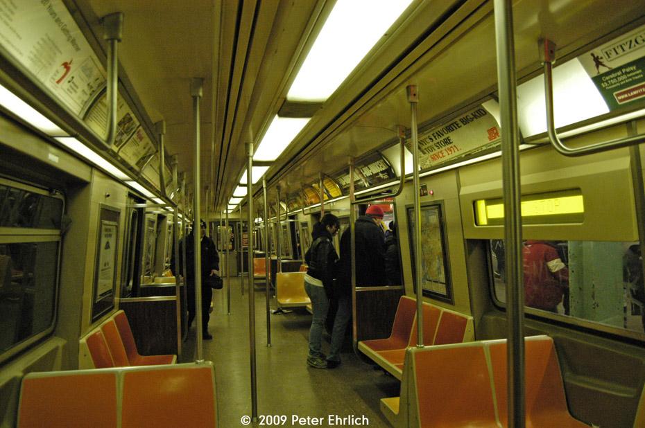 (230k, 930x618)<br><b>Country:</b> United States<br><b>City:</b> New York<br><b>System:</b> New York City Transit<br><b>Route:</b> G<br><b>Car:</b> R-46 (Pullman-Standard, 1974-75) 6046 <br><b>Photo by:</b> Peter Ehrlich<br><b>Date:</b> 2/24/2009<br><b>Notes:</b> R46 interior.<br><b>Viewed (this week/total):</b> 0 / 1195