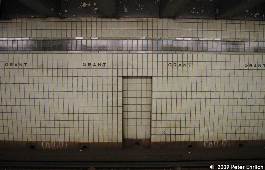 (196k, 930x596)<br><b>Country:</b> United States<br><b>City:</b> New York<br><b>System:</b> New York City Transit<br><b>Line:</b> IND Fulton Street Line<br><b>Location:</b> Grant Avenue <br><b>Photo by:</b> Peter Ehrlich<br><b>Date:</b> 2/24/2009<br><b>Notes:</b> Station tilework.<br><b>Viewed (this week/total):</b> 1 / 1522