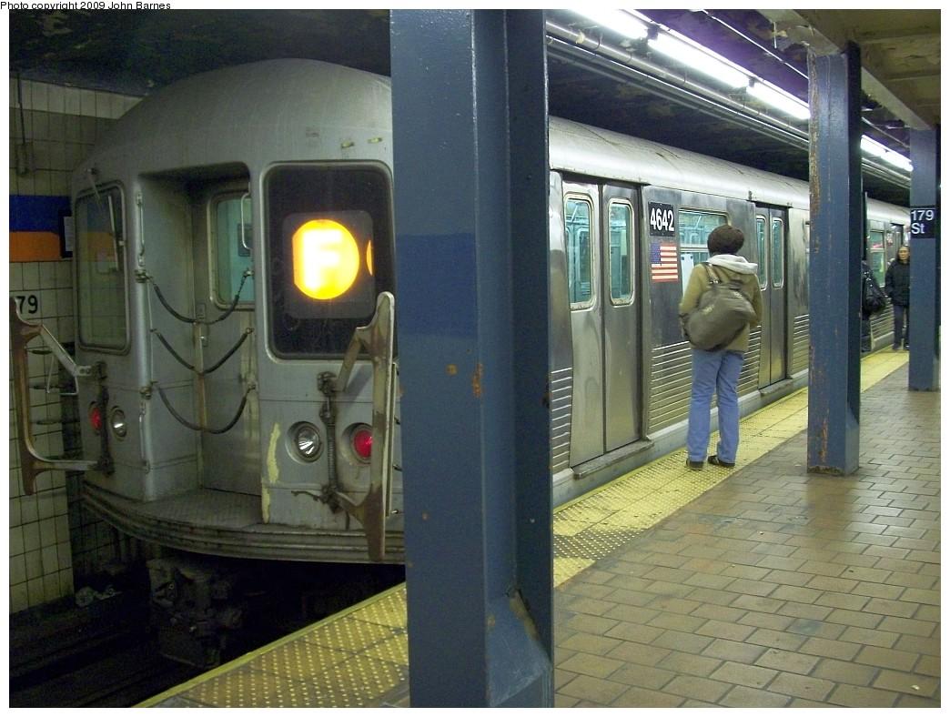 (236k, 1044x788)<br><b>Country:</b> United States<br><b>City:</b> New York<br><b>System:</b> New York City Transit<br><b>Line:</b> IND Queens Boulevard Line<br><b>Location:</b> 179th Street <br><b>Route:</b> F<br><b>Car:</b> R-42 (St. Louis, 1969-1970)  4642 <br><b>Photo by:</b> John Barnes<br><b>Date:</b> 2/27/2009<br><b>Viewed (this week/total):</b> 1 / 1655