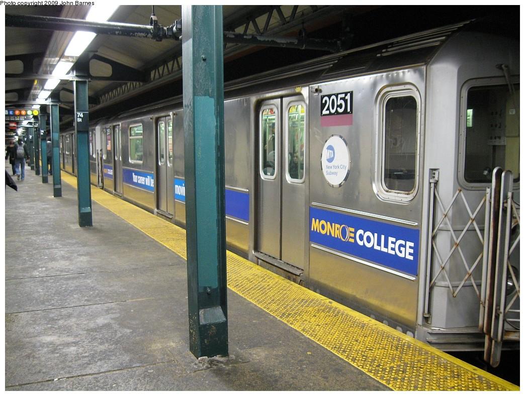 (255k, 1044x788)<br><b>Country:</b> United States<br><b>City:</b> New York<br><b>System:</b> New York City Transit<br><b>Line:</b> IRT Flushing Line<br><b>Location:</b> 74th Street/Broadway <br><b>Route:</b> 7<br><b>Car:</b> R-62A (Bombardier, 1984-1987)  2051 <br><b>Photo by:</b> John Barnes<br><b>Date:</b> 3/5/2009<br><b>Viewed (this week/total):</b> 2 / 1264