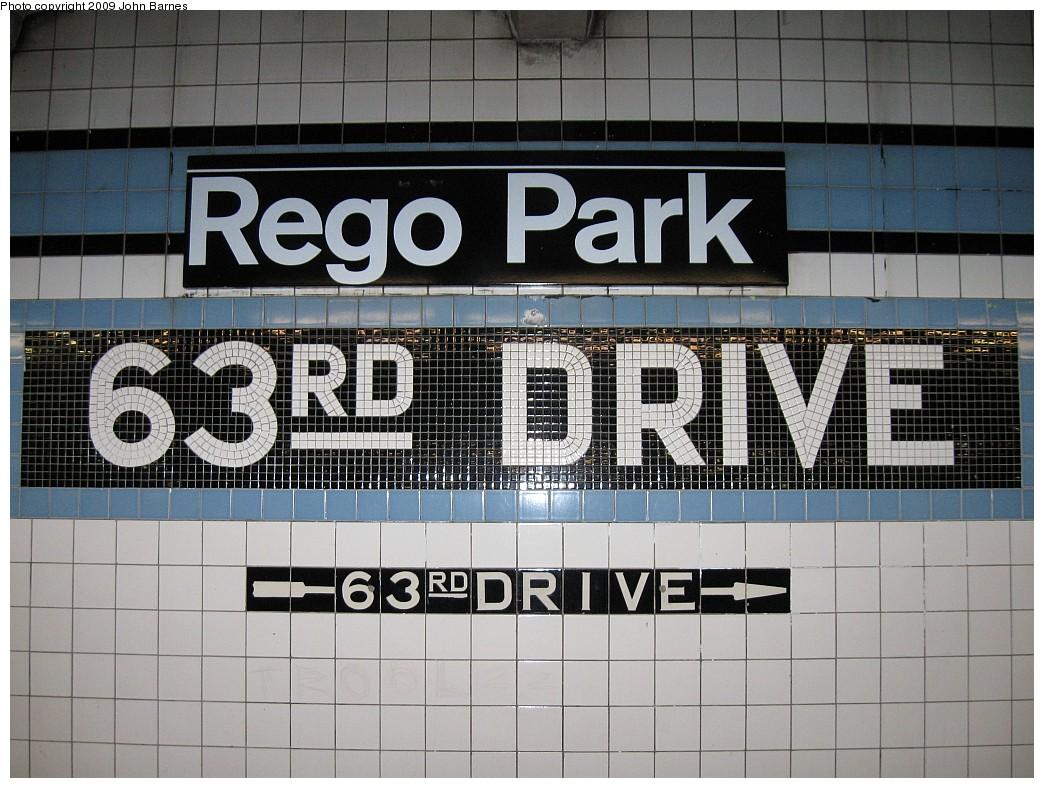 (239k, 1044x788)<br><b>Country:</b> United States<br><b>City:</b> New York<br><b>System:</b> New York City Transit<br><b>Line:</b> IND Queens Boulevard Line<br><b>Location:</b> 63rd Drive/Rego Park <br><b>Photo by:</b> John Barnes<br><b>Date:</b> 3/5/2009<br><b>Viewed (this week/total):</b> 3 / 1603