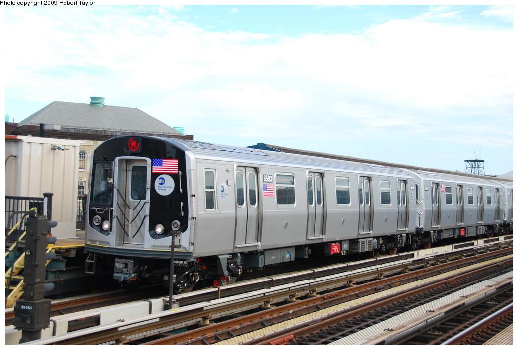 (238k, 1044x705)<br><b>Country:</b> United States<br><b>City:</b> New York<br><b>System:</b> New York City Transit<br><b>Line:</b> BMT West End Line<br><b>Location:</b> Fort Hamilton Parkway <br><b>Route:</b> M<br><b>Car:</b> R-160A-1 (Alstom, 2005-2008, 4 car sets)  8593 <br><b>Photo by:</b> Robert Taylor<br><b>Date:</b> 8/29/2008<br><b>Viewed (this week/total):</b> 0 / 1261
