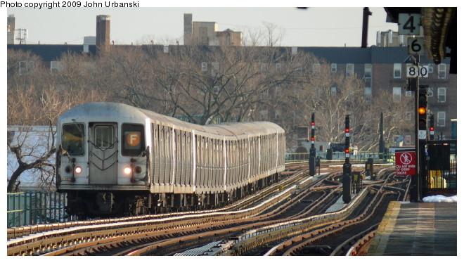 (97k, 660x374)<br><b>Country:</b> United States<br><b>City:</b> New York<br><b>System:</b> New York City Transit<br><b>Line:</b> BMT Culver Line<br><b>Location:</b> Avenue P <br><b>Route:</b> F<br><b>Car:</b> R-42 (St. Louis, 1969-1970)  4579 <br><b>Photo by:</b> John Urbanski<br><b>Date:</b> 3/5/2009<br><b>Viewed (this week/total):</b> 0 / 1236
