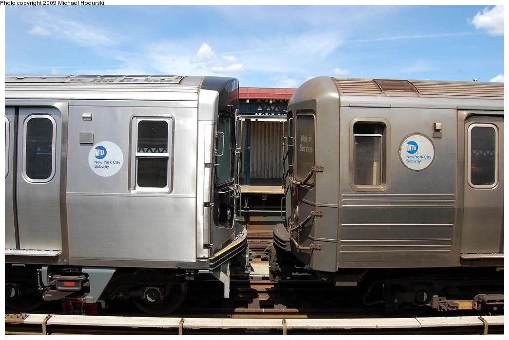 (200k, 1044x699)<br><b>Country:</b> United States<br><b>City:</b> New York<br><b>System:</b> New York City Transit<br><b>Line:</b> BMT Astoria Line<br><b>Location:</b> 30th/Grand Aves. <br><b>Route:</b> N Lay-up<br><b>Car:</b> R-160B (Kawasaki, 2005-2008)  8917 <br><b>Photo by:</b> Michael Hodurski<br><b>Date:</b> 5/23/2008<br><b>Notes:</b> With R68A 5164<br><b>Viewed (this week/total):</b> 0 / 2346